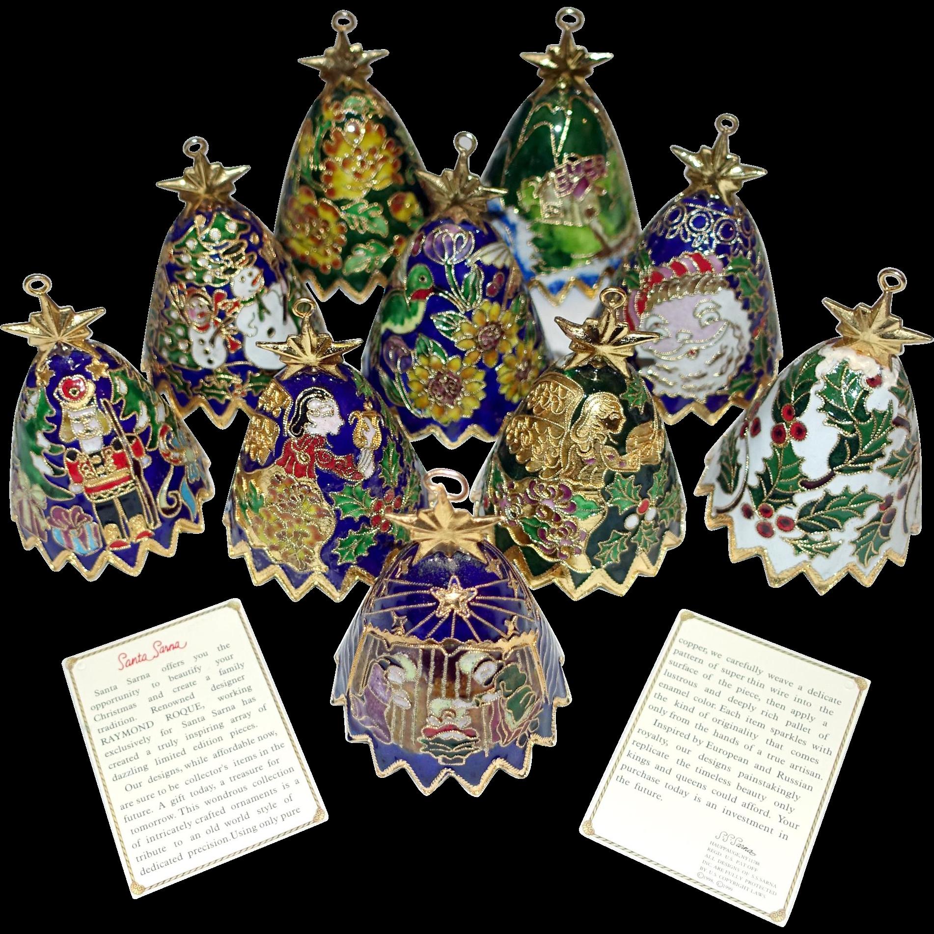 Bell christmas ornament - 10 Santa Sarna Cloisonne Bell Christmas Ornaments