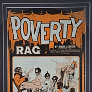 Framed Black Memorabilia Americana Poverty Rag Sheet Music - Ragtime