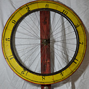 Old Painted Red & Yellow Gaming Wheel of Chance Folk Art