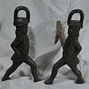 Antique Pair of Cast Iron Hessian Soldier Andirons Early American Fireplace