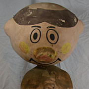 Hand Painted Folk Art Advertisement of Cartoon Man Carnival Paper Mache