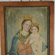 Antique Religious Retablo Our Lady Refuge or Virgin Mary and Christ Mexico Folk Art Painting c.1850