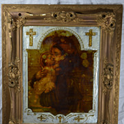 Framed Catholic Religious Icon Saint Anthony of Padova and the infant Jesus Christ Folk Art