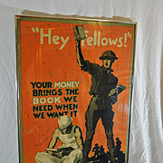 WWI Poster - Hey Fellows!' Your Money Brings the Book We Need When We Want It