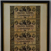Canal Bank of New Orleans Uncut Sheet of Fifty Dollar Bills