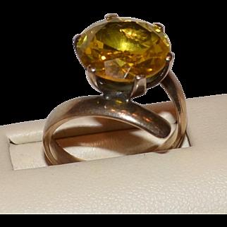 Estate Gold Citrine Offset Cocktail Ring Marked 10k