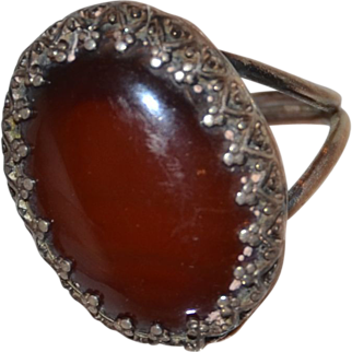 Size 5 Womens Ring - Handcrafted Silver Jewelry Set with Deep Red Carnelian Stone and Glistening Marcasite