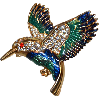 Costume Brooch of Humming Bird with Vibrant Stones - Cocktail Party Jewelry