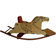 Antique Wood Toy Child's Rocking Horse Painted Sleigh Downton Abbey