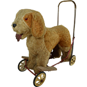 VINTAGE 1950's PUSH-ALONG RIDE ON TOY DOG SAINT BERNARD WOOL MOHAIR BY PEDIGREE SOFT TOYS LTD
