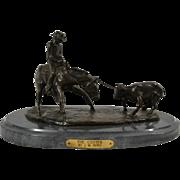 Western  Bronze Sculpture by American Artist Jim Reno titled The Cutter Cowboy Cutting Calf Cow