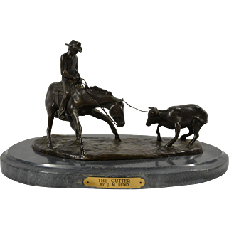 Western  Bronze Sculpture by American Artist Jim Reno titled The Cutter Cowboy Cutting Calf Cow