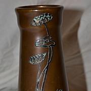Heintz Art Metal Shop Sterling on Bronze Vase
