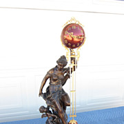 Ansonia Fortuna Swing Clock w/ Cranberry Ball Movement c. 1900