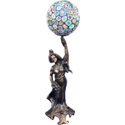 Beautiful Collection Francaise Art Nouveau Period Lamp - Maiden with Millefiori Globe