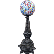 "Figural Art Deco Period Collection Francaise Lamp with Millefiori Shade - ""Balancing Act"""