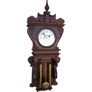 Waterbury Library Wall Clock in Rich Red Mahogany