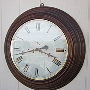 "Rare E.N. Welch 30"" Gallery Clock in Black Walnut - 18"" Dial"