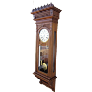 Elegant Wm. L. Gilbert Regulator #11 Wall Clock in Walnut - Time and Strike