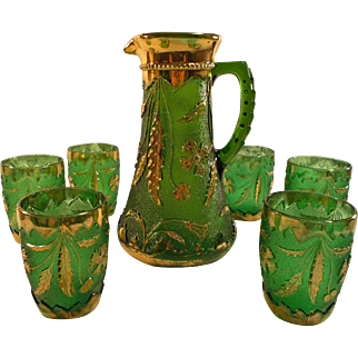 US Glass Company EAPG Delaware Emerald Pitcher and 6 Tumblers