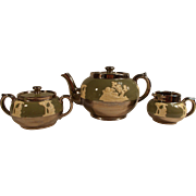 Gibson and Sons Teapot, Sugar and Creamer Set with Overlay and Lustreware