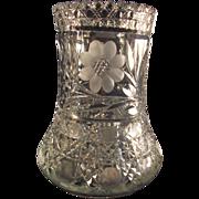 Brilliant Cut Crystal Vase with Daisy and Diamond Cut Pattern