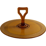 Vintage Amber Glass Tidbit Tray With Gold Rim