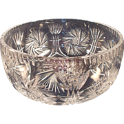 Polish Cut Crystal Bowl Pinwheel and Starburst Pattern