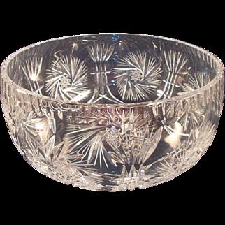Polish Cut Crystal Bowl Pinwheel and Starburst Pattern
