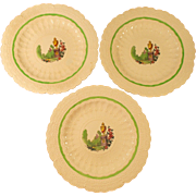 Spodes Jewel Copeland Spode With Green Border Set of 3 Plates