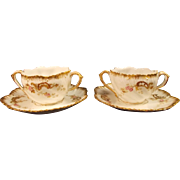 A. Lanternier Limoges, France Set of Two Bouillon Cups and Saucers