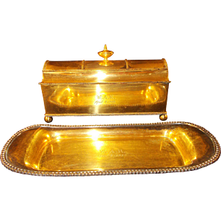 Brass Inkwell and Pen Tray