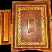 Tooled Brown Leather Desk Set