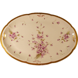 Theodore Haviland Limoges Large Platter With Forget Me Knots