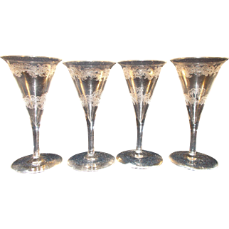 Set of 4 Etched Sherry Glasses