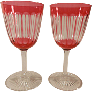 Pair of Cranberry and Clear Crystal Wine Glasses
