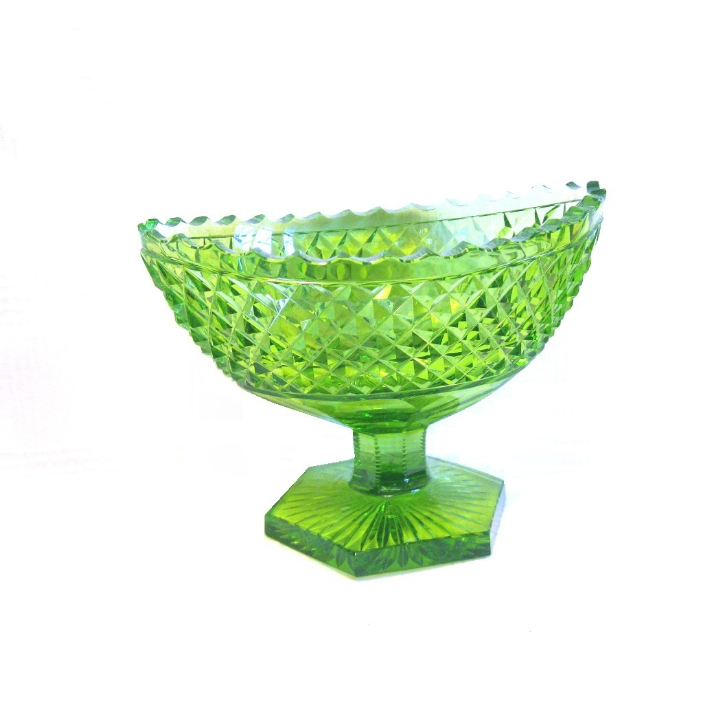 Vintage Green Cut Glass Footed Navette Bowl