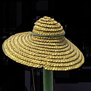 Pre-1900 miniature Doll Hat of straw