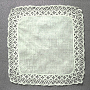 Vintage Wedding Handkerchief, hand made Lace