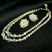 2-strand Aurora Borealis Necklace/Earrings Set, 1950s