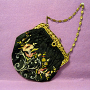French Evening Purse, Tambour Embroidery