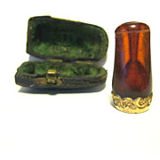 Early Cased Amber Cigar Holder