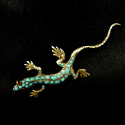 Victorian Reptile/lizard Brooch, Turquoise Studded