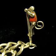 1930s Pole Climbing Monkey Sterling Charm Bracelet