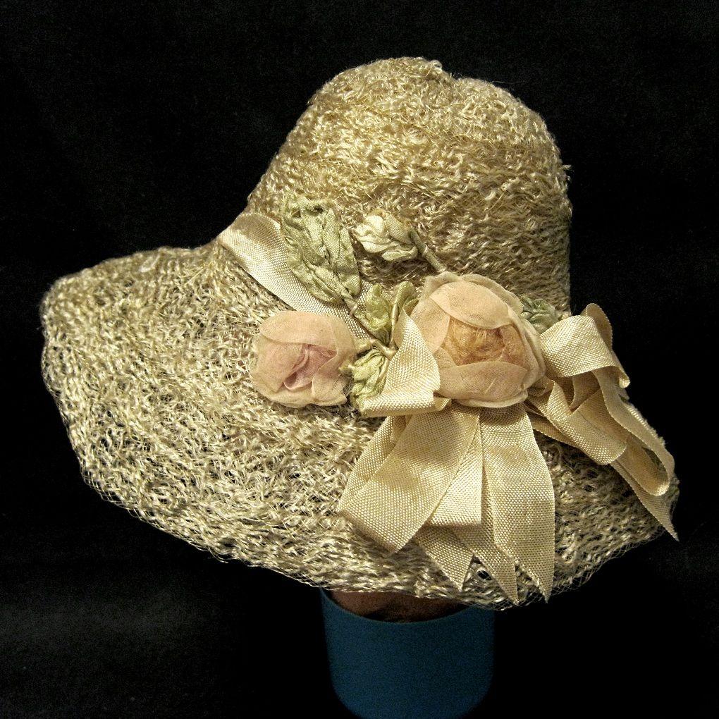 Vintage Rose Trimmed Straw Doll Hat