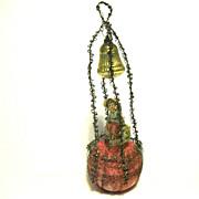 1890 Victorian Unsilvered Glass Ornament, Scrap, Tinsel