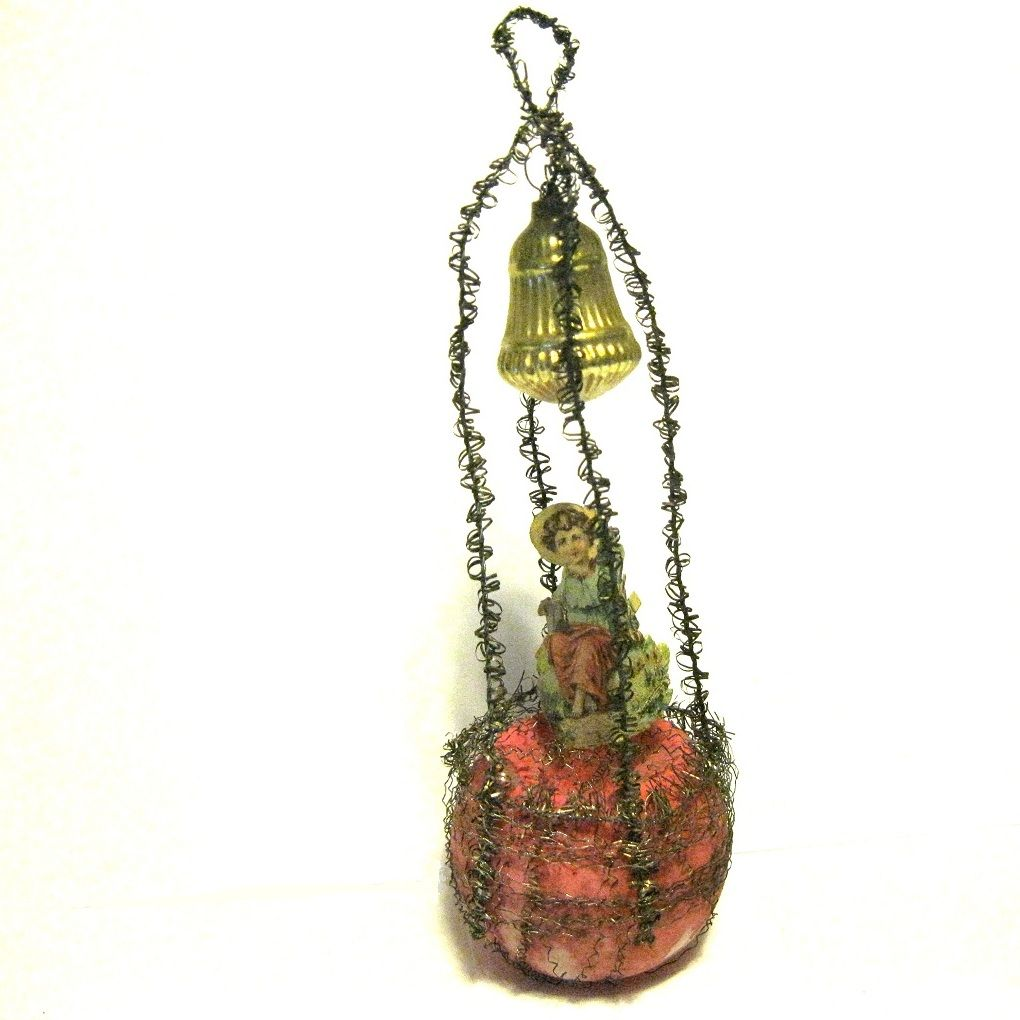 1890 Victorian Unsilvered Glass Ornament, Scrap, Tinsel