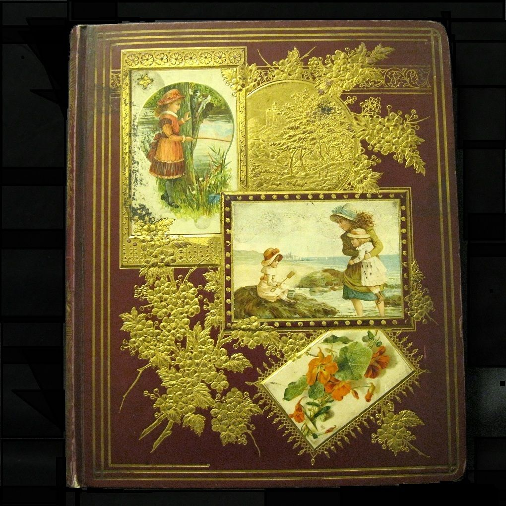 Filled 43-Page Victorian Scrapbook, 1876, Outstanding