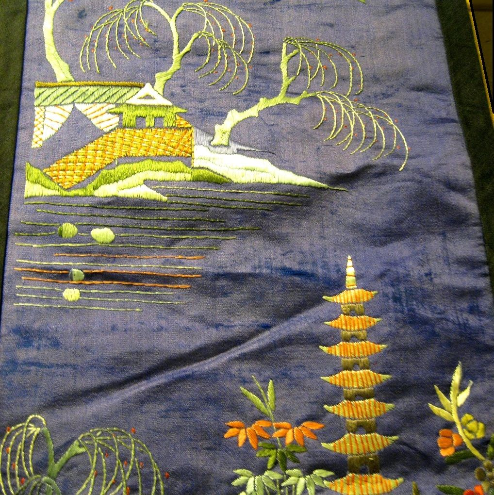 Hand Embroidered Silk Oriental Panel, Vintage
