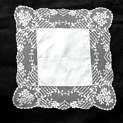 Dogwood / Tambour Embroidered Wedding Hanky